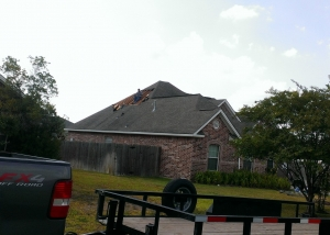 View of damaged roof
